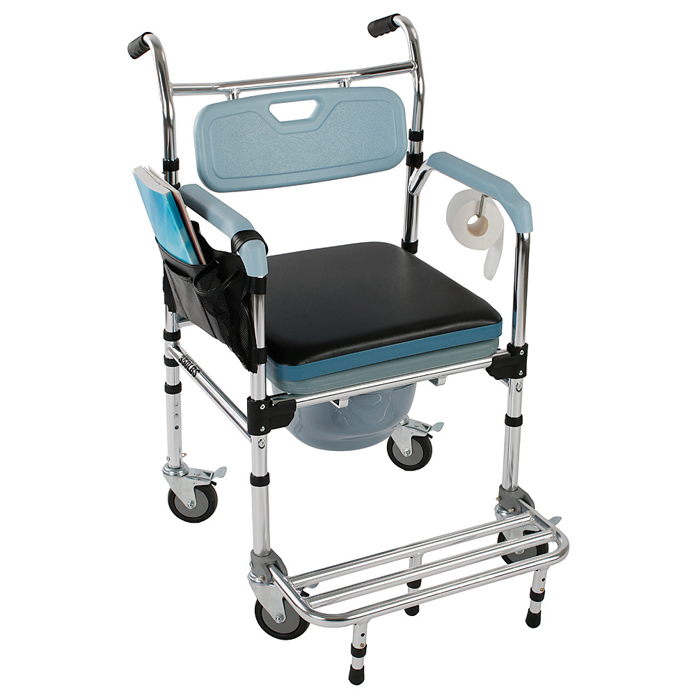4-in-1 Commode Wheelchair Bedside Toilet & Shower Chair Home/Room ...