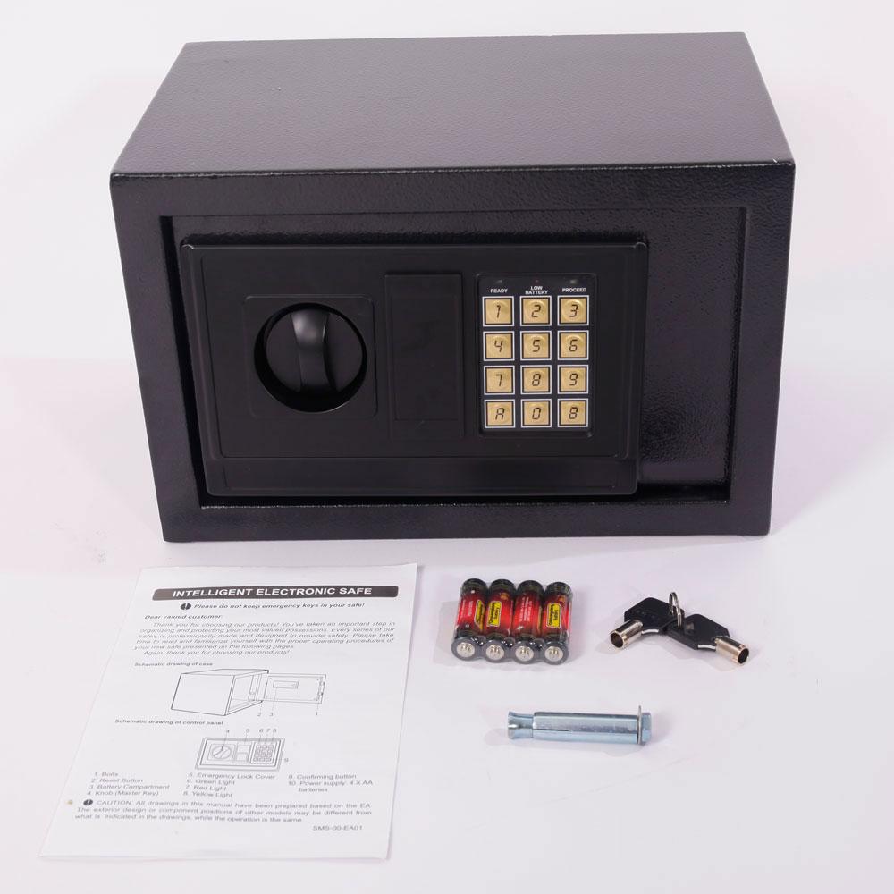 Details about Digital Steel Safe Electronic Locking Money Strongbox Cash  Box Key Black