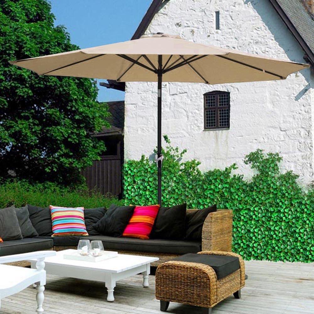 9Aluminum 8Rib Canopy Shelter Patio Umbrella Outdoor Garden Sunshade Tilt Crank