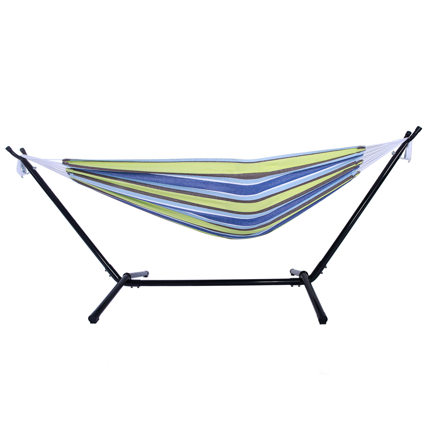 Portable Double Hammock With Space Saving Steel Stand W Carrying