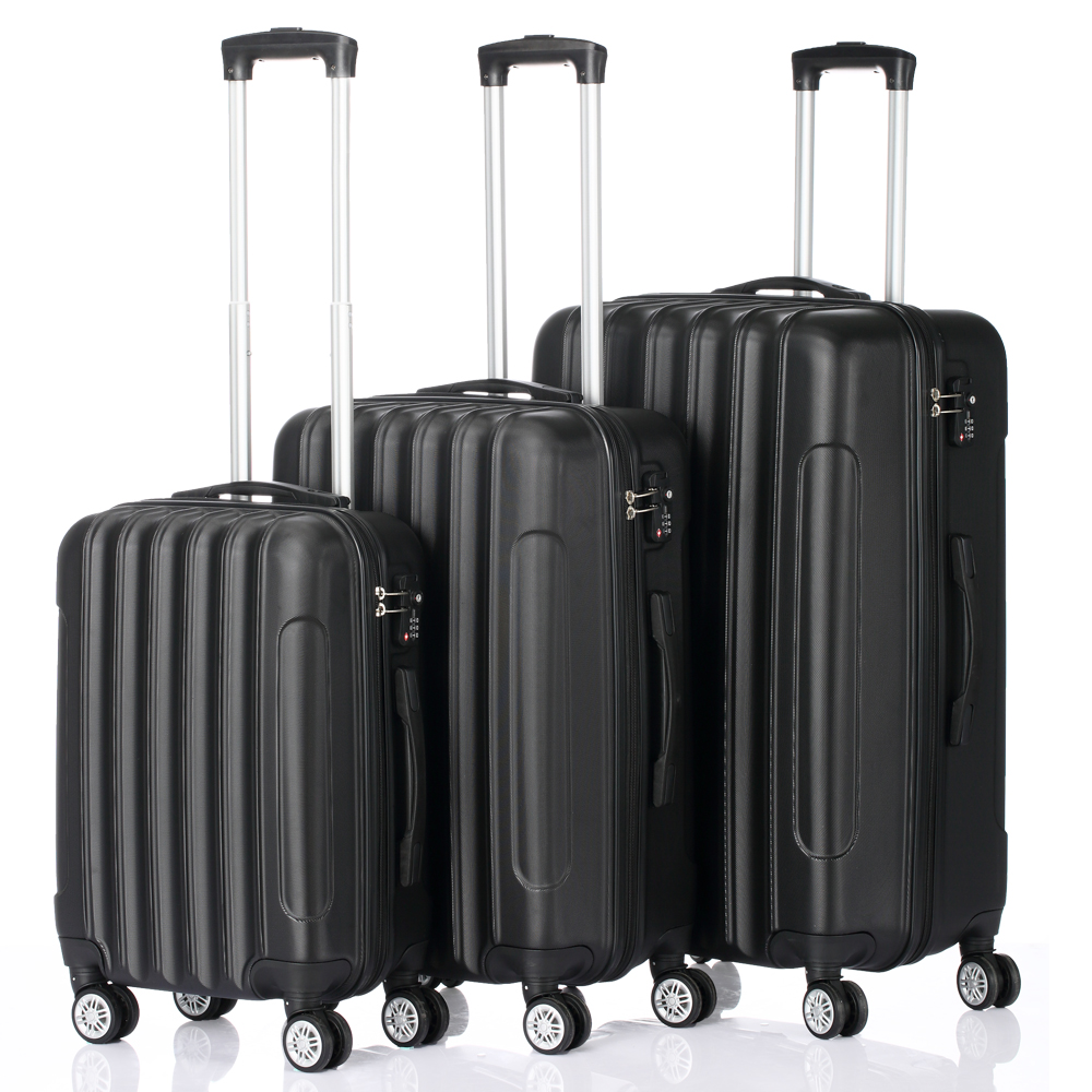 558954a5f068 Details about Hardside 3 Piece Nested Spinner Suitcase Luggage Set With TSA  Lock Black