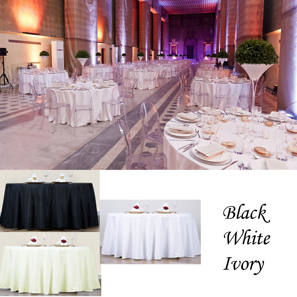 New 1/5/6/8/10/15 PACKS 90 Inch Round Tablecloth Polyester Wedding Table  Cover