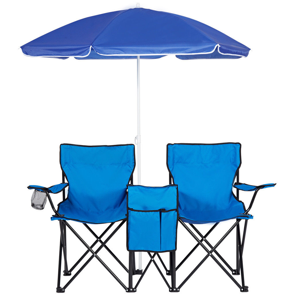 Miraculous Details About Picnic Double Folding Chair W Umbrella Table Cooler Fold Up Beach Camping Chair Unemploymentrelief Wooden Chair Designs For Living Room Unemploymentrelieforg