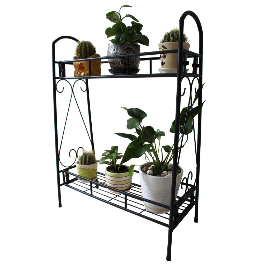 2 Layer Shelves Indoor Plant Stand Display Flower Pots