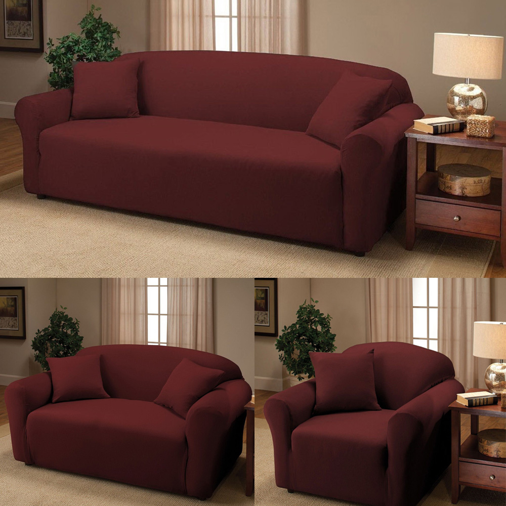 New Sofa Stretch Slipcover Sofa Cover, Couch Cover, Chair Loveseat Sofa  Wine Red