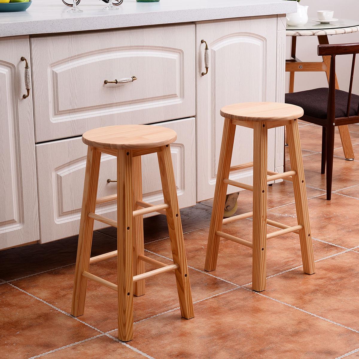 Set Of 2 Wood Counter Stools Bar Stools Dining Kitchen