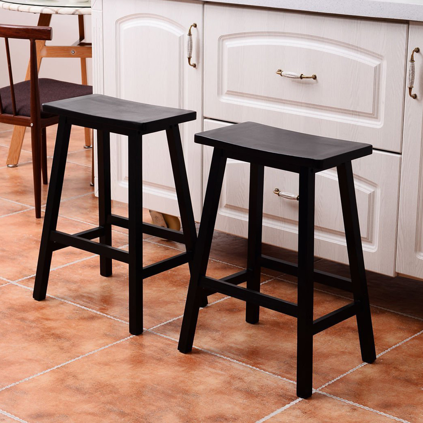 Details about Set of 2 Bar Stools Kitchen Dining Room Saddle Seat Wooden  Pub Chair 24 Inch