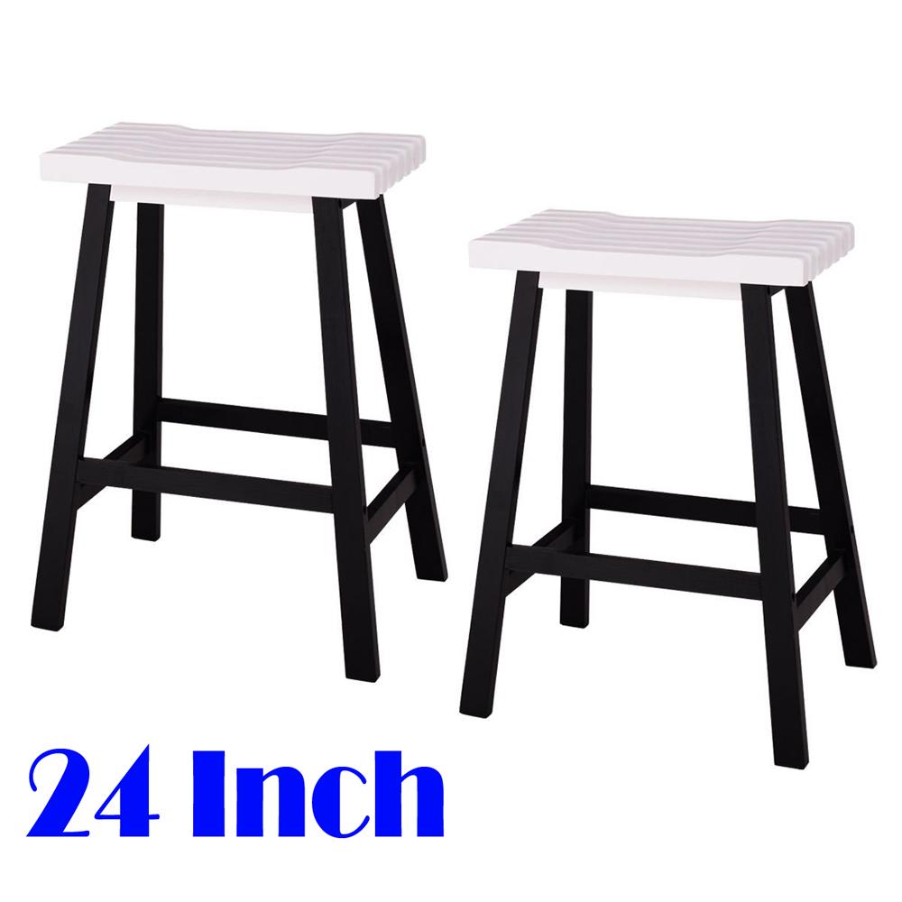 Set Of 2 Bar Stools Kitchen Counter Dining Saddle Seat Wood Pub