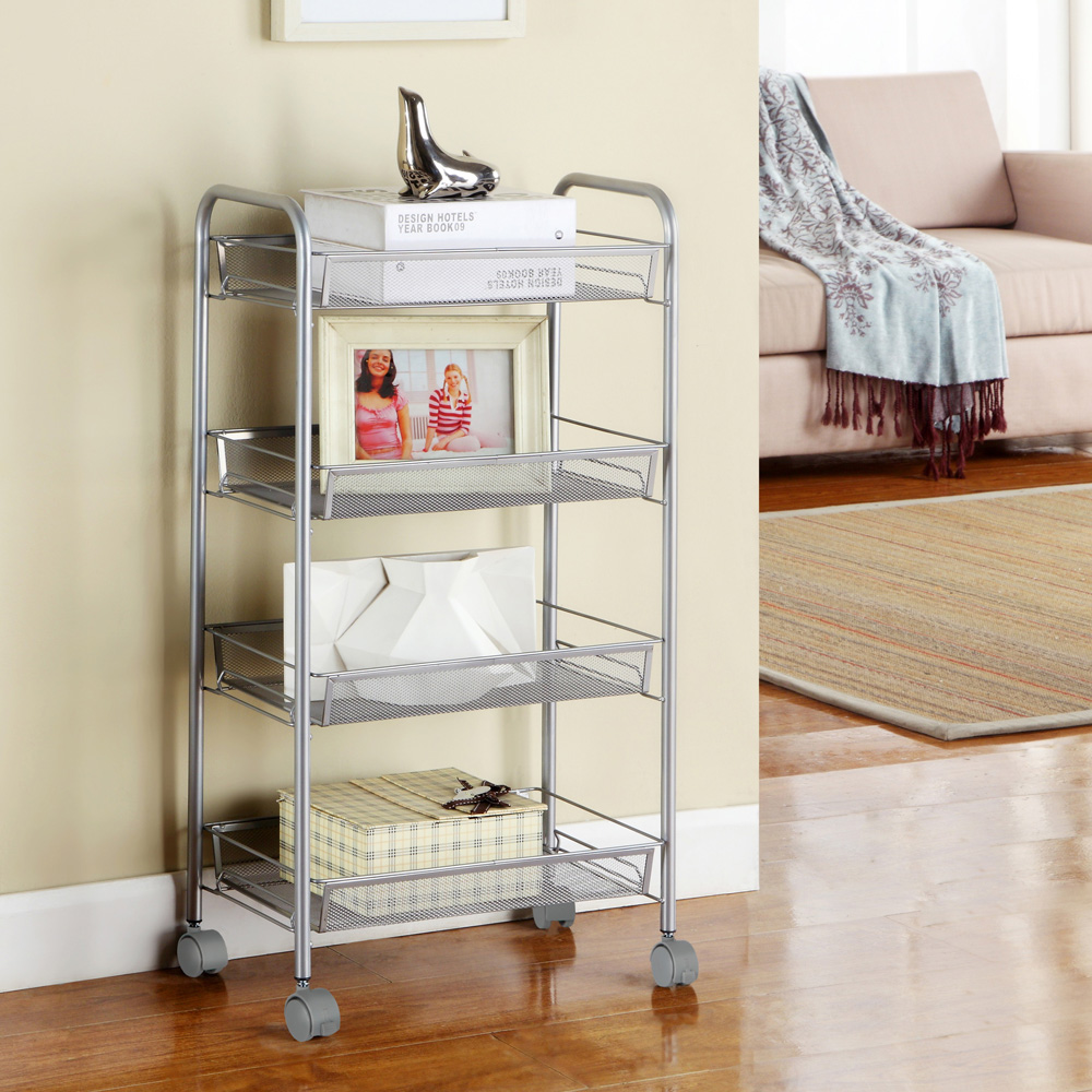 Details about 3/4/5 Tier Rack Shelf Shelving w/Rolling Kitchen Pantry  Storage Utility Cart