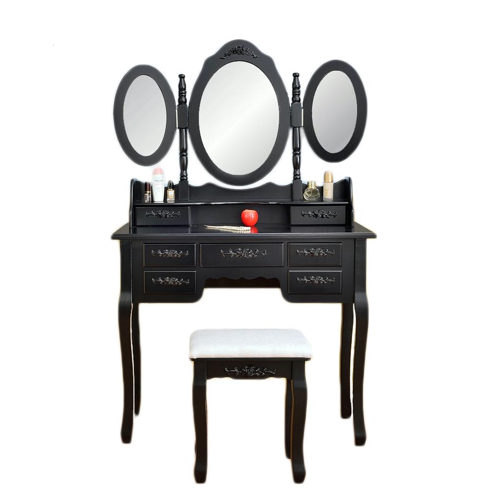 Vanity Make Up Table Black Dressing Table Set W/Stool 7 Drawer U0026 3 Mirrors  Fold