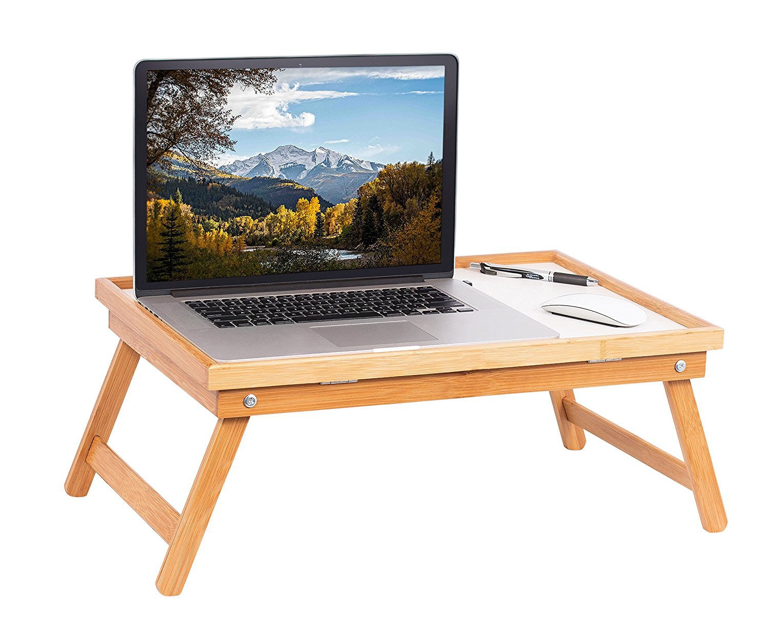 Merveilleux Bamboo Lap Tray Reading Work Eating Couch Bed Natural Book Holder Laptop  White