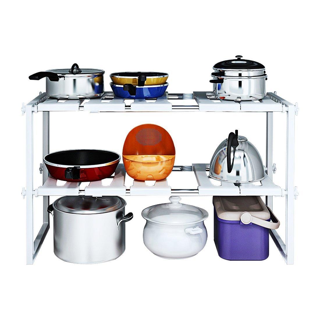 3 Tier Shelf Organizer Under Sink Rack Cabinet Storage: 2-Tier Space Saving Expendable Under Sink Shelf Adjustable