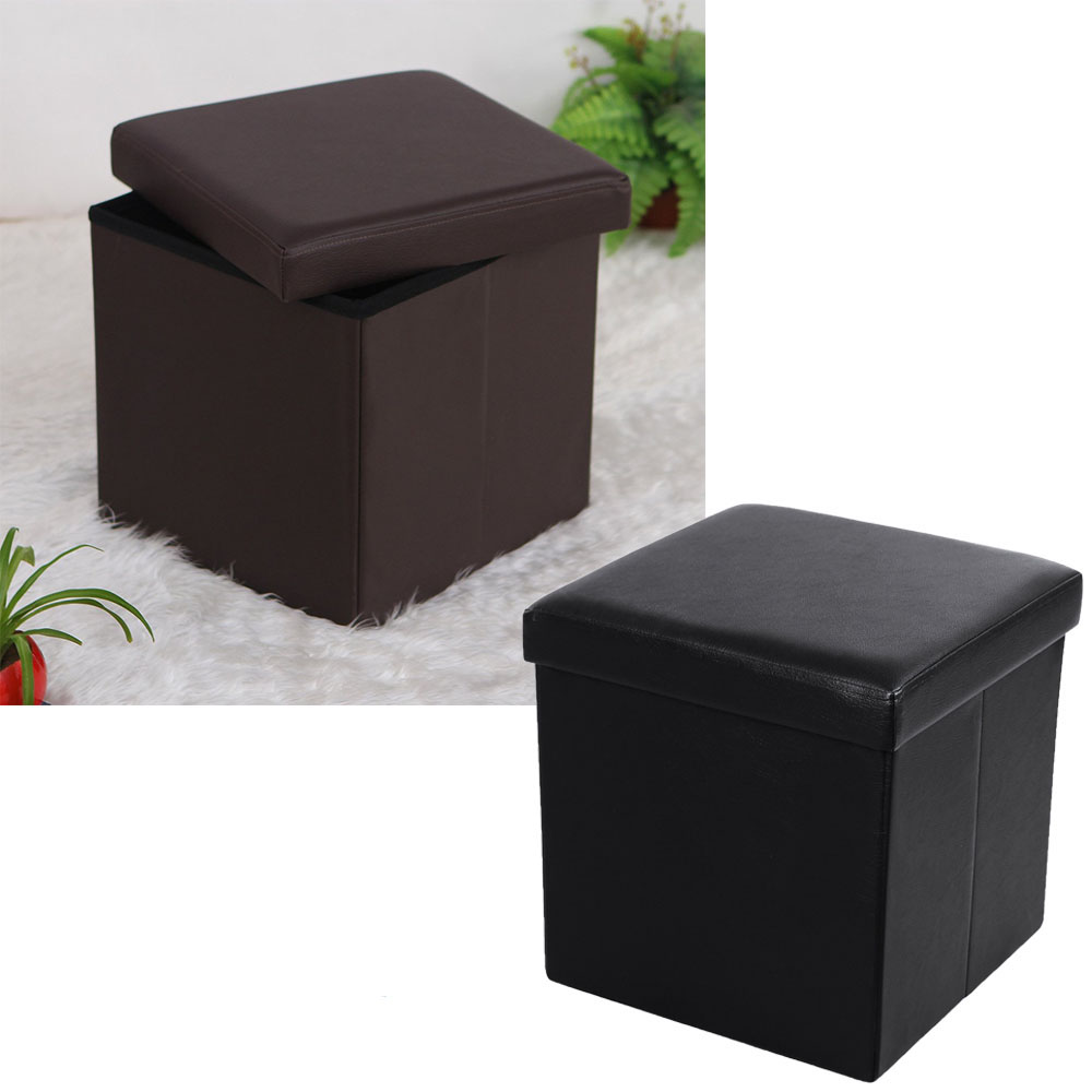 New Folding Ottoman Storage Box Seat PU Leather Foot Stool Footstool Black/ Brown  sc 1 st  eBay : brown leather foot stool - islam-shia.org