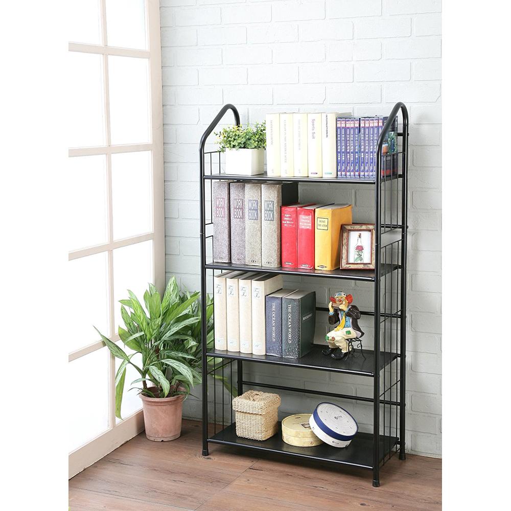 Superb New Outdoor Patio Plant Stand Shelf Indoor Bookcase Storage Metal Black 4  Tier