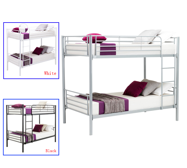 Metal Twin over Twin Bunk Beds Frame Ladder for Kids Adult White ...