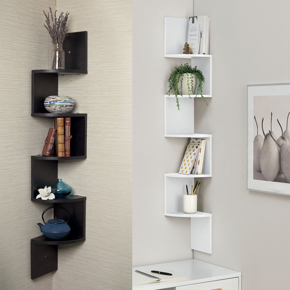 Dining Room Corner Decorating Ideas Space Saving Solutions: 5 Tiers Wall Corner Artistic Shelf Furniture Floating