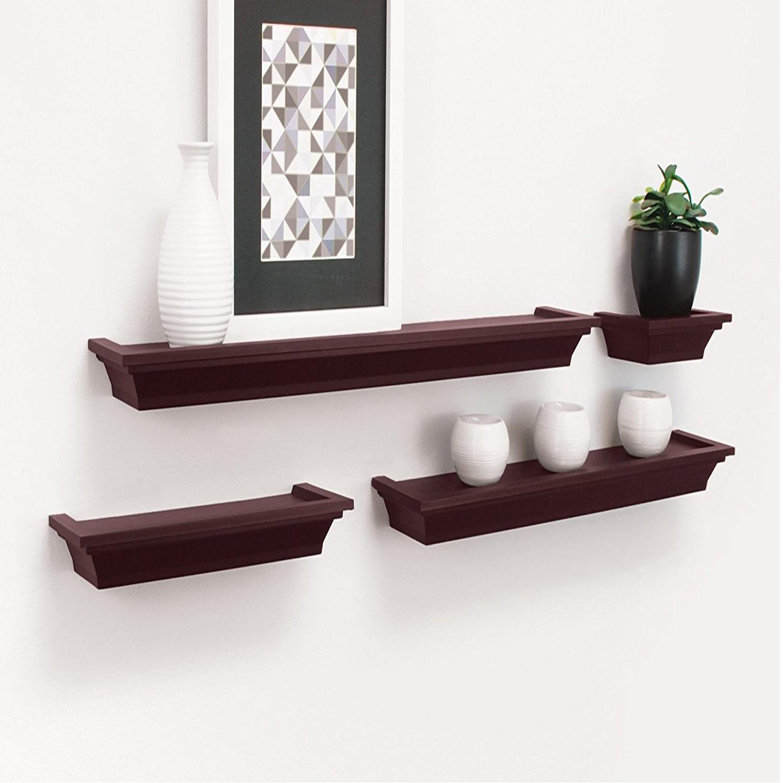 Set Of 4 Wall Mount Shelf Floating Display Home Decor