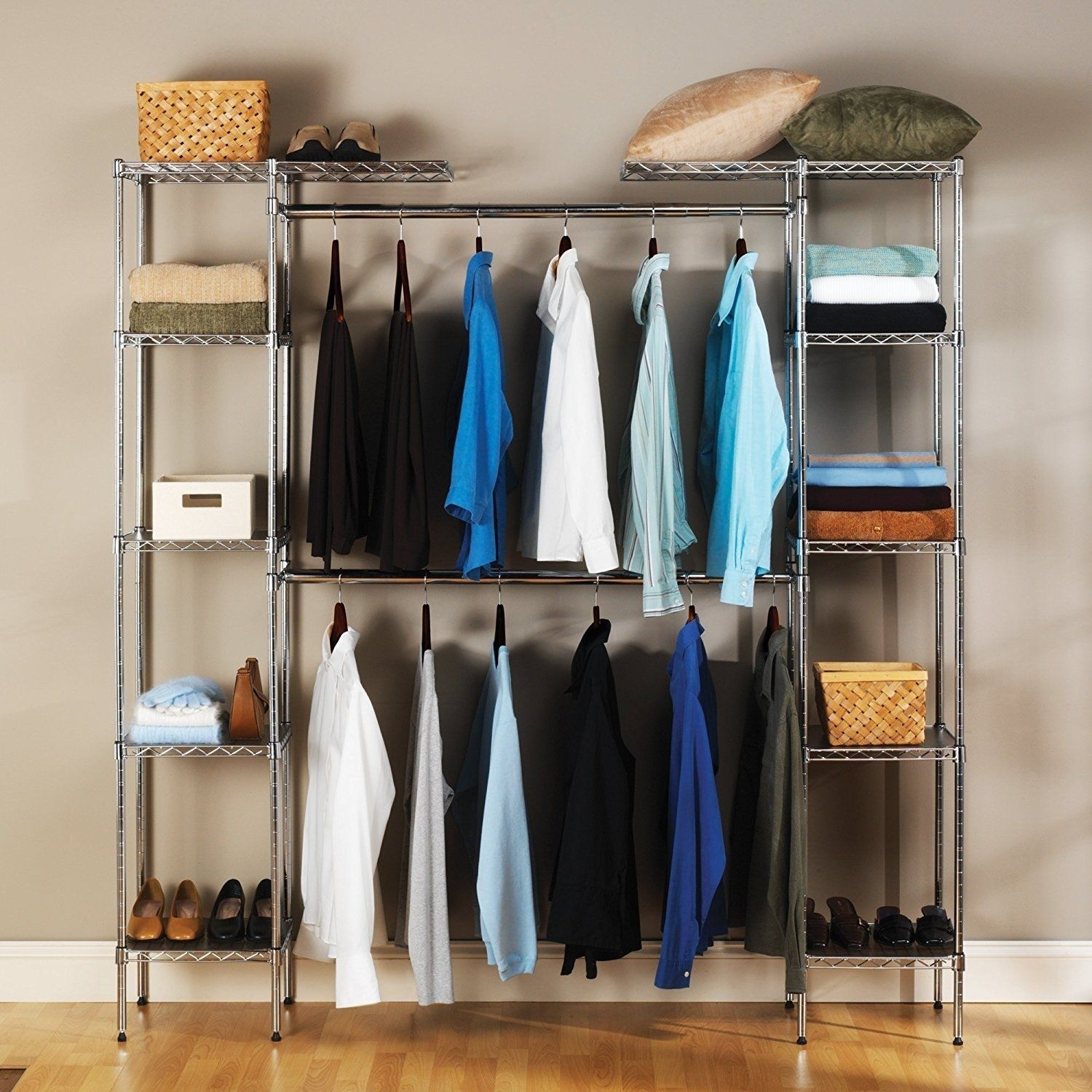 1d79f5dd81f5e Details about Custom Closet Organizer Shelves System Kit Expandable Clothes  Storage Metal Rack