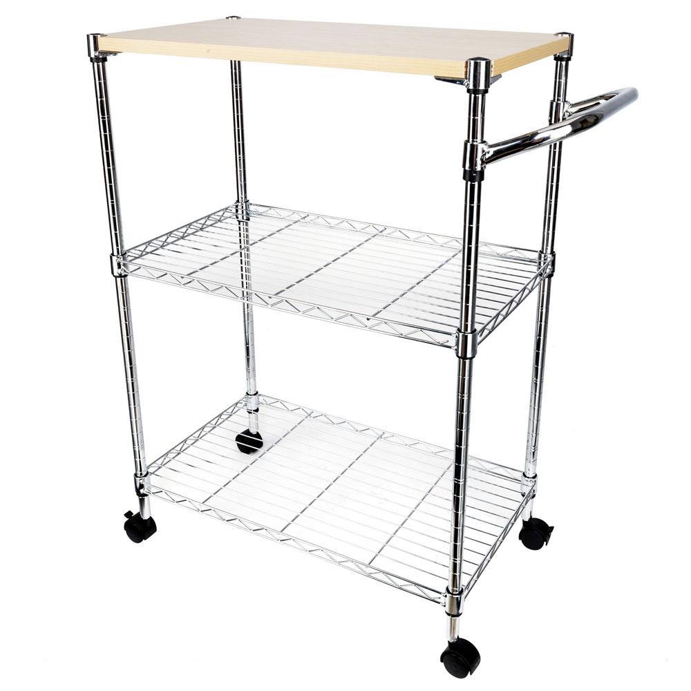 3-Tier Rolling Kitchen Trolley Cart Island Rack Basket Shelf Stand ...