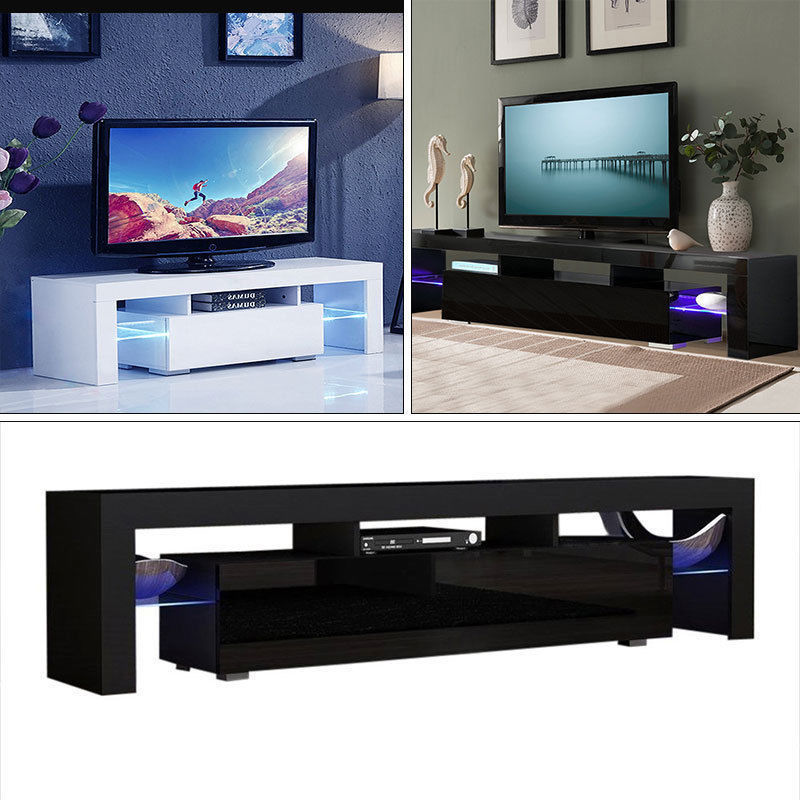 Details About High Gloss TV Stand Unit Cabinet With LED Lights Shelves  Living Room Furniture