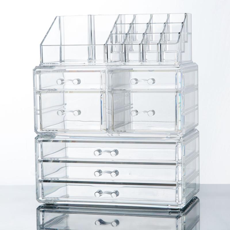 makeup cosmetics jewelry organizer acrylic display box storage w drawers ebay. Black Bedroom Furniture Sets. Home Design Ideas