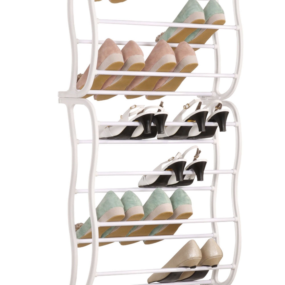 hanging shoe rack over the door 12 tier 36 pair space saver organizer storage ebay. Black Bedroom Furniture Sets. Home Design Ideas