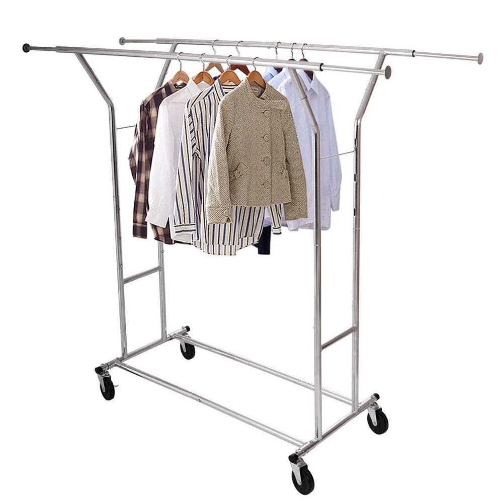 heavy duty clothing garment collapsible salesman rolling rack hanger chrome ebay. Black Bedroom Furniture Sets. Home Design Ideas