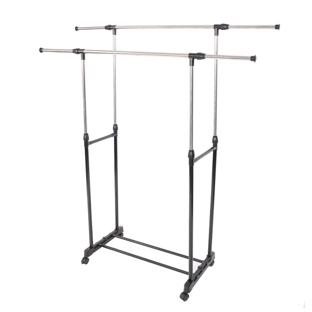 portable double adjustable heavy duty clothes hanger rolling garment rack ebay. Black Bedroom Furniture Sets. Home Design Ideas