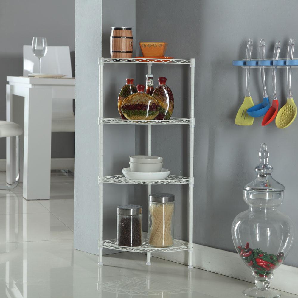 Kitchen Shelf Holders: Corner Storage Rack 4 Tier Rack Shelf Wire Shelving Garage