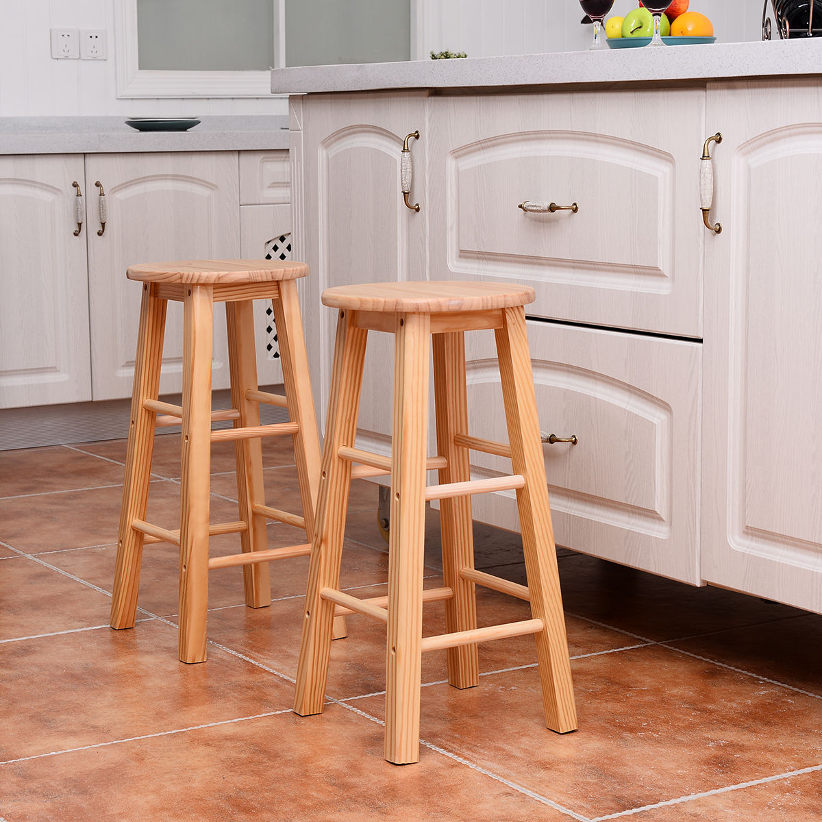 Set Of 2 Wood Counter Stools Bar Stools Dining Kitchen Round Seat Chair 24 Inch Ebay