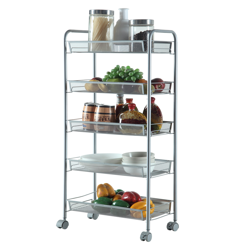 Kitchen Storage Shelf: 3/4/5 Tier Rack Shelf Shelving W/Rolling Kitchen Pantry