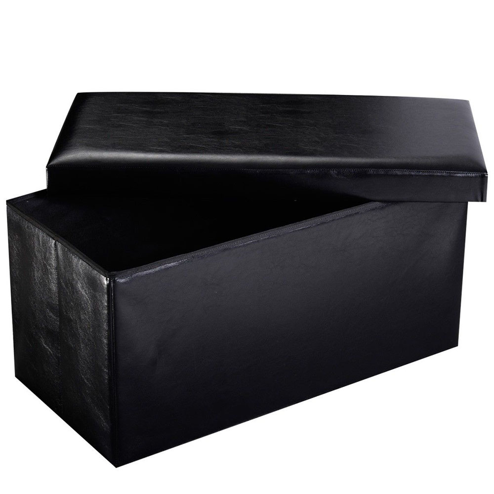 New modren rectangle storage ottoman footrest leather for Black leather footstool