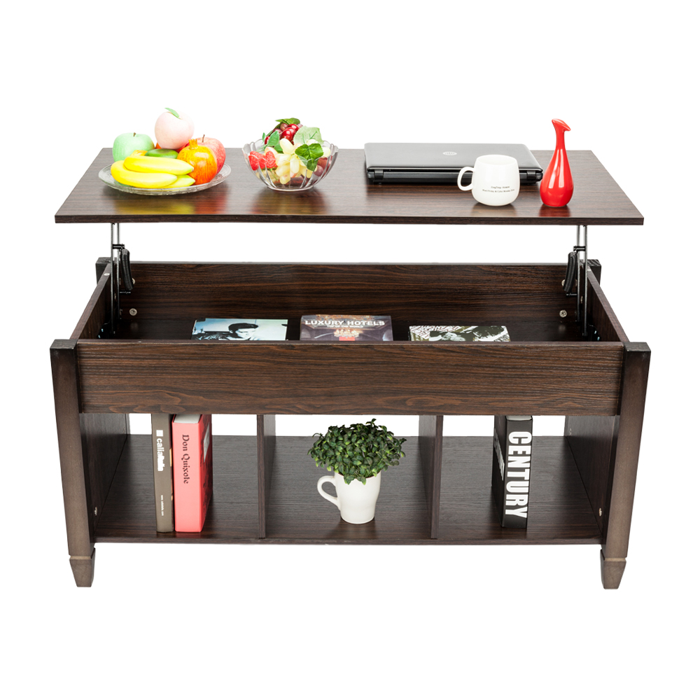 lift up top coffee table w hidden storage compartment shelf brown ebay. Black Bedroom Furniture Sets. Home Design Ideas
