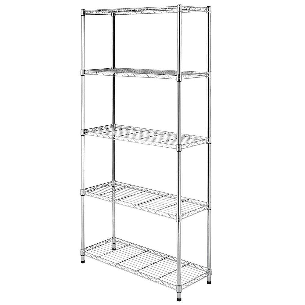 Pantry Storage Shelving Units Small Metal Shelving Unit: 3/4/5 Layer Wire Shelving Rack Metal Shelf Adjustable Unit