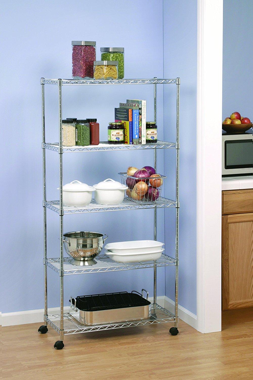 3/5 Tier Shelf Adjustable Wire Microwave Oven Metal Shelving Rack w ...