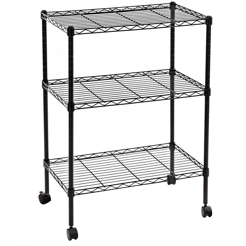 Heavy Duty 3 Tier Wire Shelving Rack Cart Unit w/Casters Shelf ...