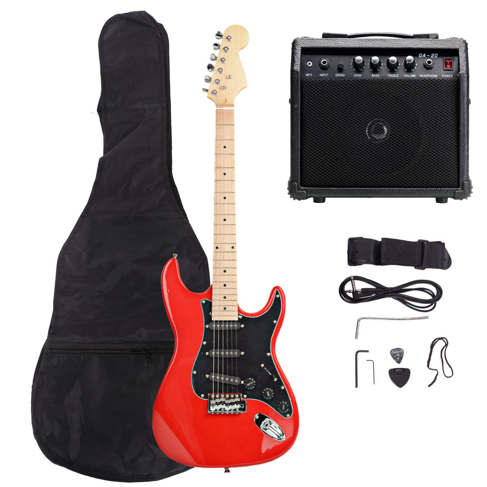 new 8 colors full size electric guitar w amp case and accessories pack beginner ebay. Black Bedroom Furniture Sets. Home Design Ideas