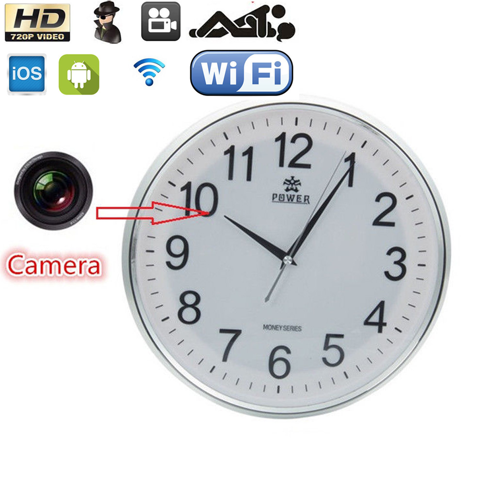 Wireless 1280720 wifi hd wall clock video p2p camera dvr digital item specifics amipublicfo Images