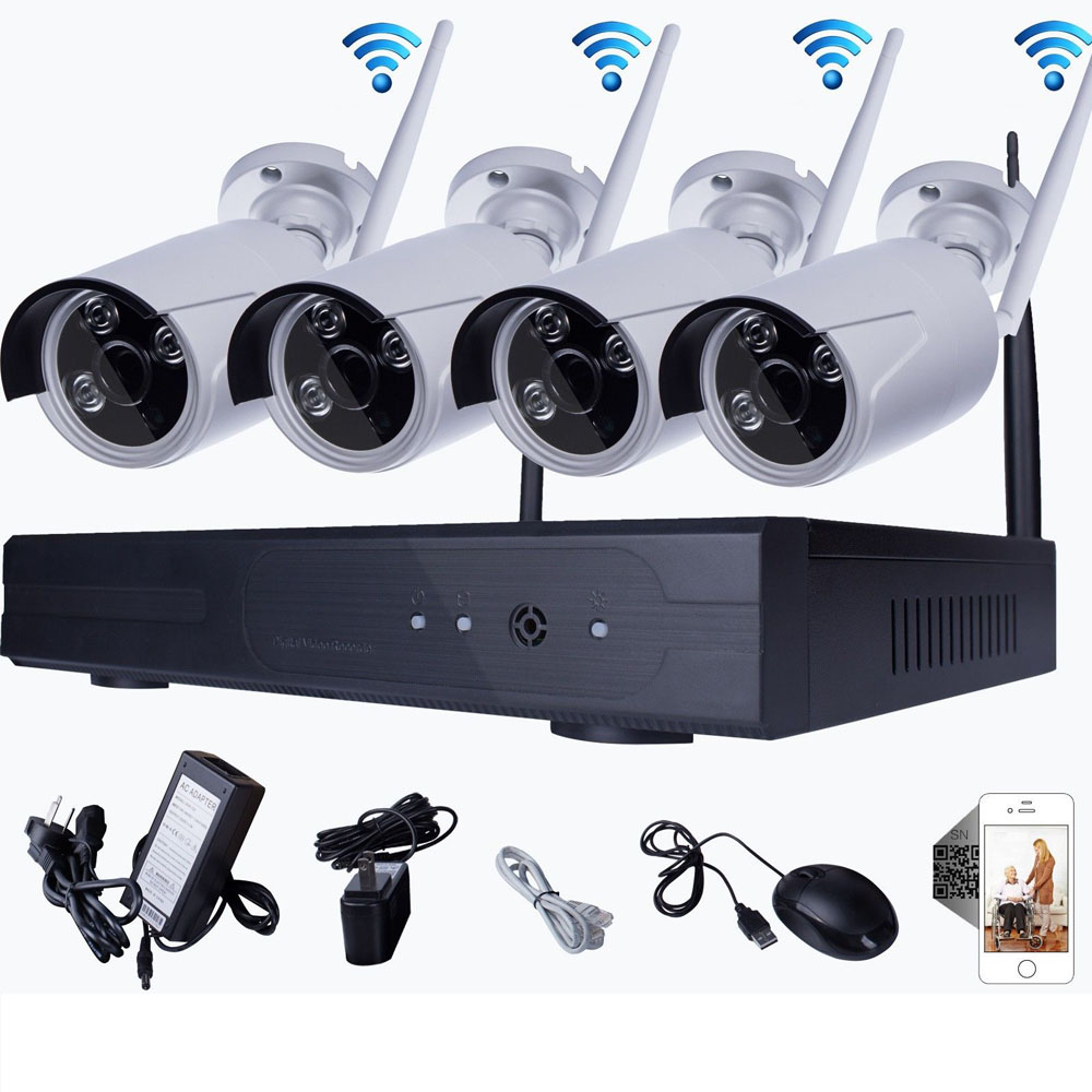 Exterior Home Security Cameras: Wireless 4CH 1080P NVR IP CCTV Outdoor WIFI IR-CUT 720P