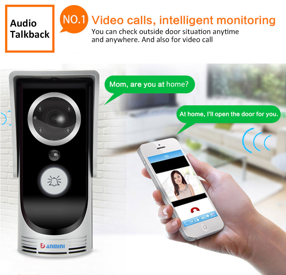 Details about Wifi Video Audio Camera Door Bell Wireless Doorbell Intercom  for Android IOS
