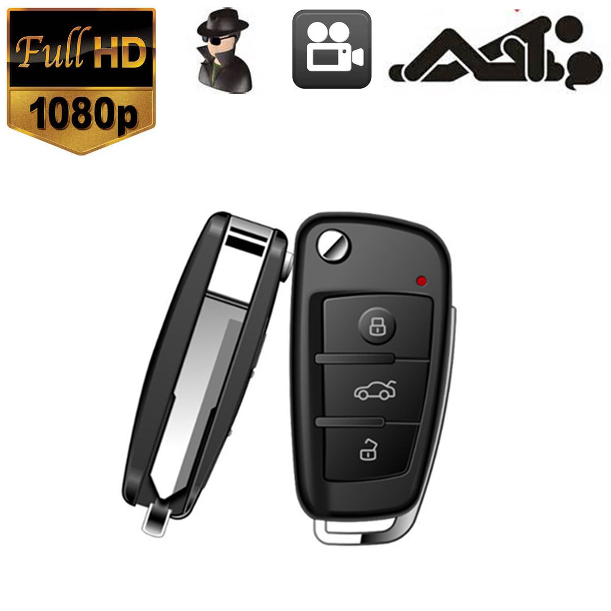 hd 1080p car key chain spy hidden camera dvr motion dectect digital night vision. Black Bedroom Furniture Sets. Home Design Ideas