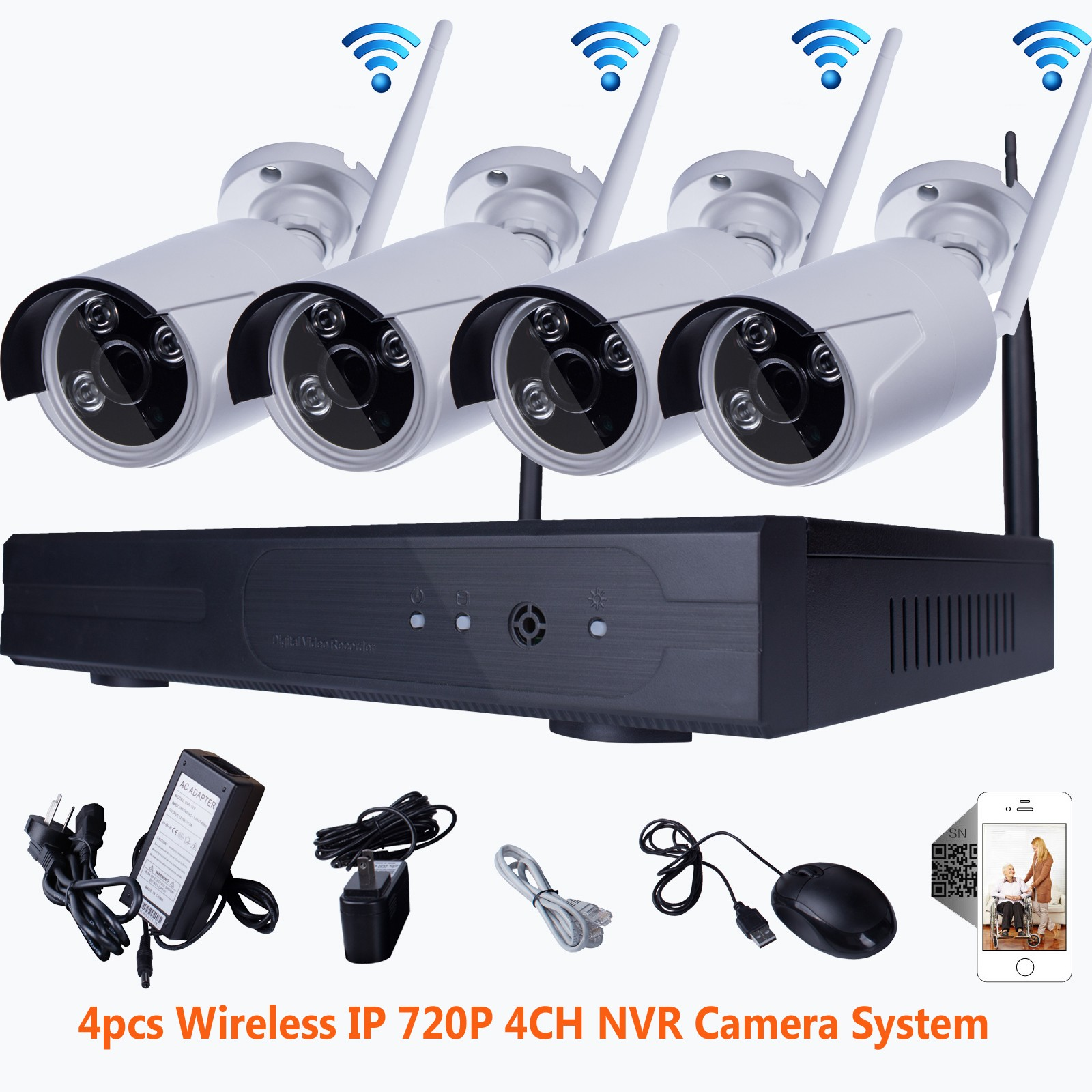Wifi 4ch Nvr 720p Ip Wireless Cctv Surveillance Security System Outdoor Camera Ebay