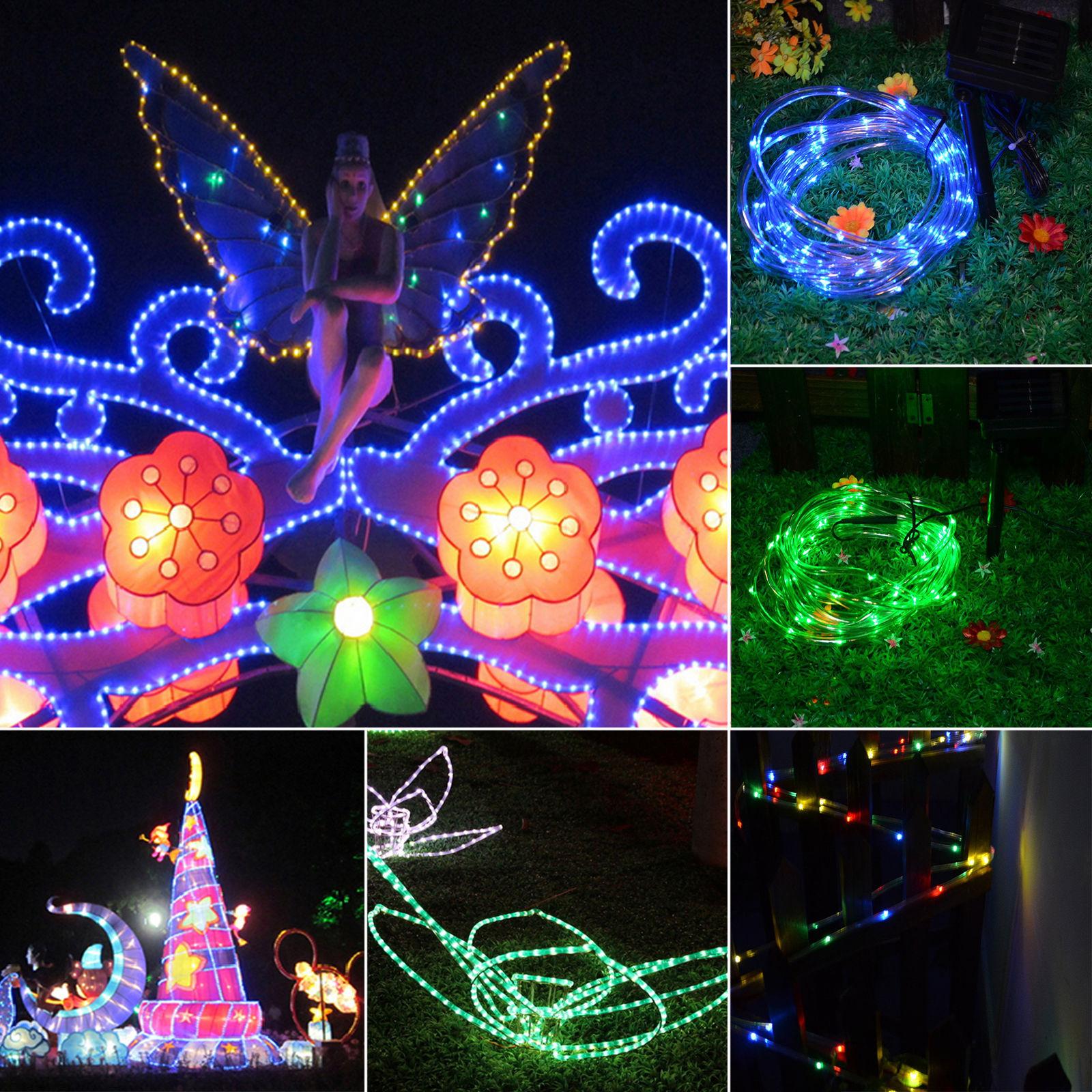 Outdoor Solar Fairy Lights Uk: 50/100 LED Solar Fairy String Light Tube Rope Garden