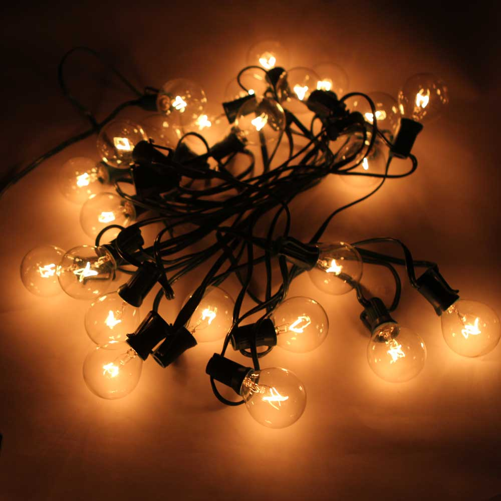 Turbo Universal Headlight Led String: G40 Light Bulb LED String Lights 25 Round Bulbs Christmas