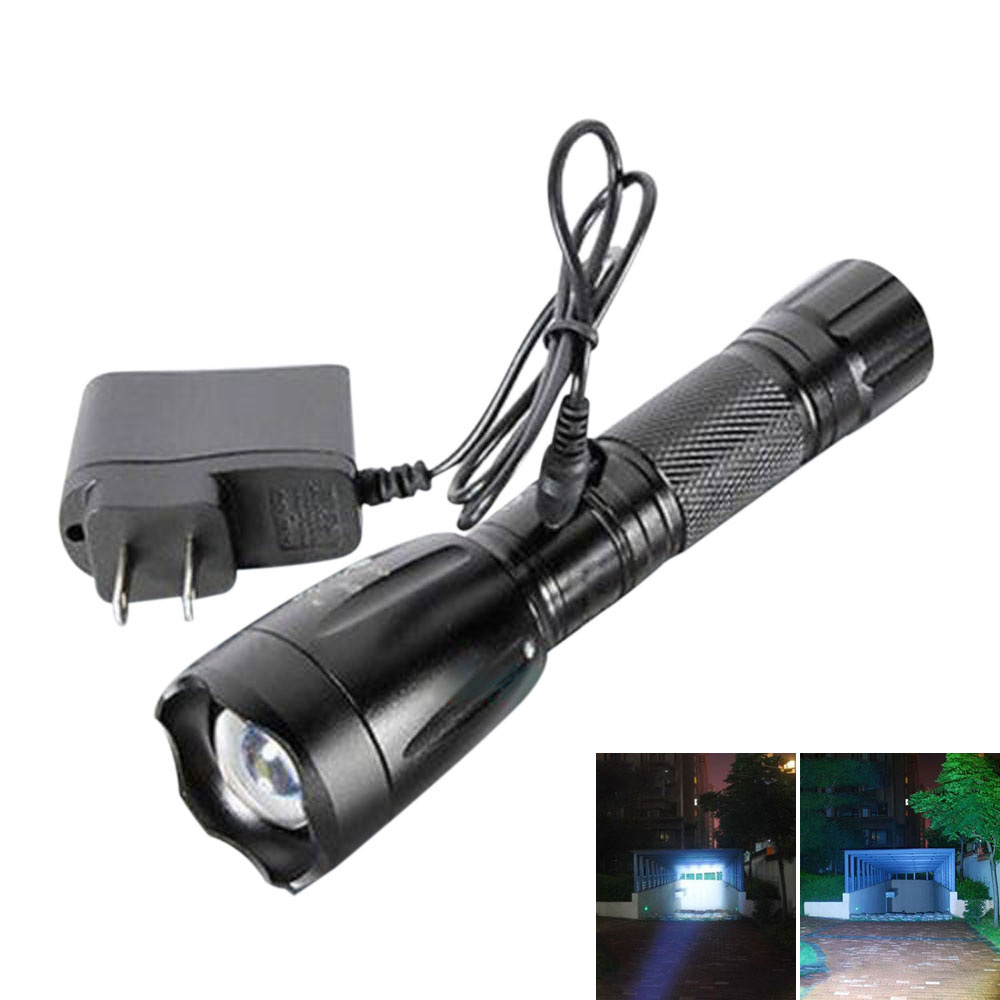 3000lm Zoomable Xml T6 Led Rechargeable Flashlight Torch Lamp W Ac Car Charger Ebay