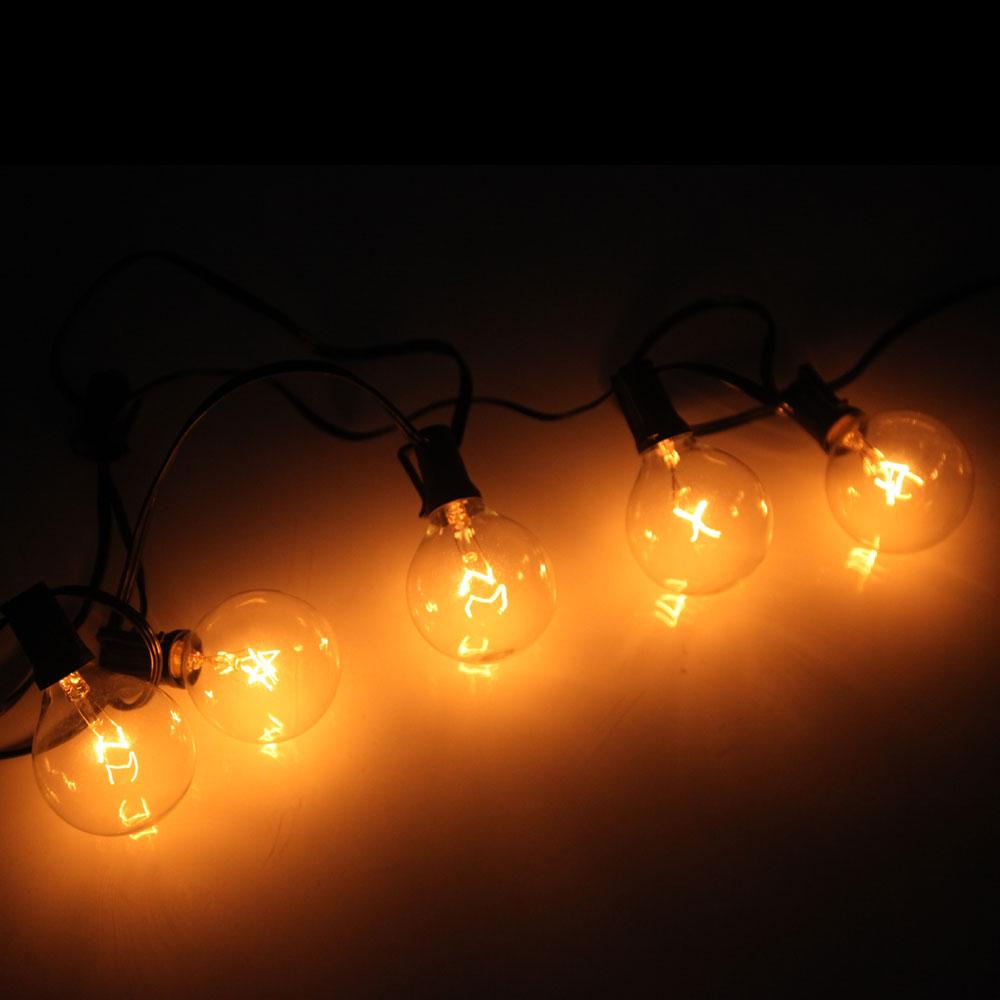 100 Foot Globe Patio Outdoor String Lights - Set of 125 G50/G40/G30 Clear Bulbs eBay