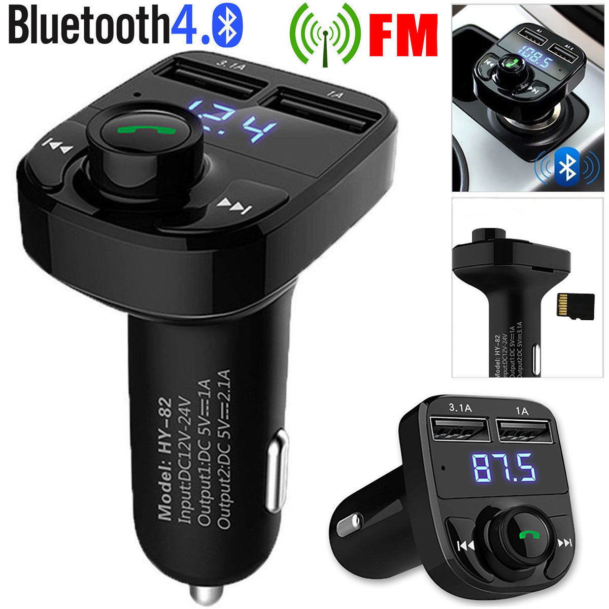 Hands Free Car Kit Wireless Bluetooth Fm Transmitter Led