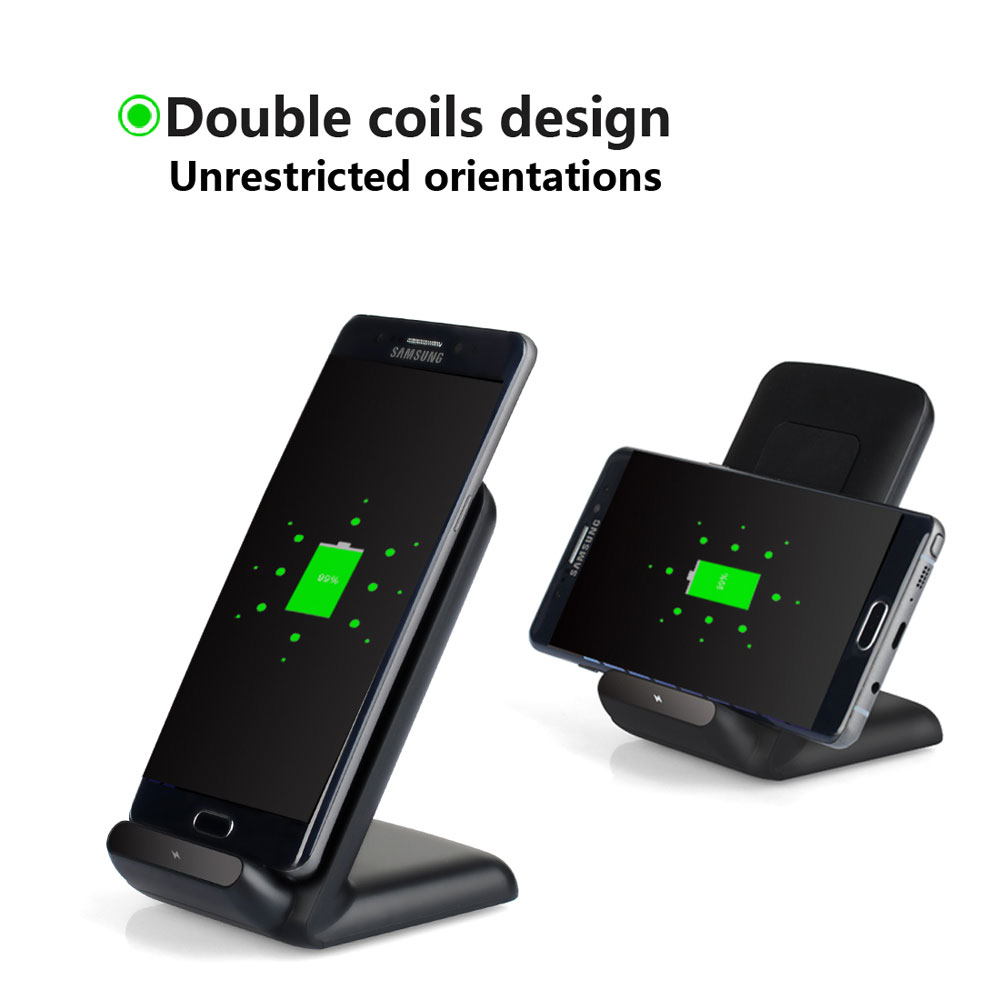 fast wireless charger for samsung s8 s8 s7 s7 edge s6 s6 edge plus note5 black ebay. Black Bedroom Furniture Sets. Home Design Ideas
