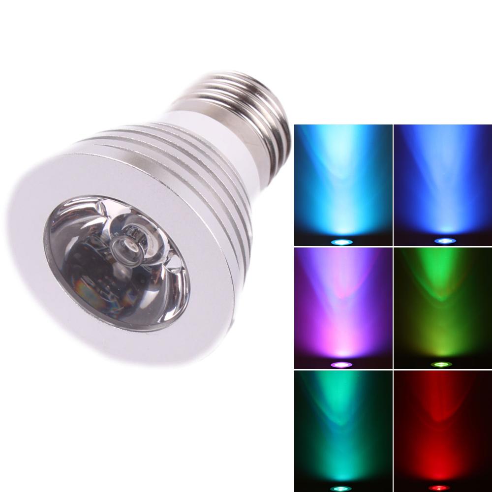 20X E27 3W Multi-Color RGB LED Spot Light Bulb Lamp ...