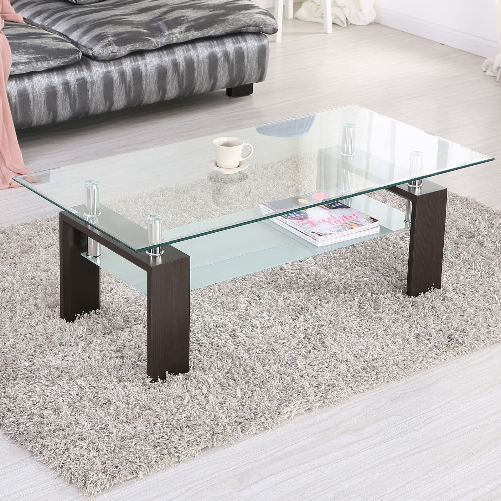 Black coffee table rectangular living room home office glass top wooden frame